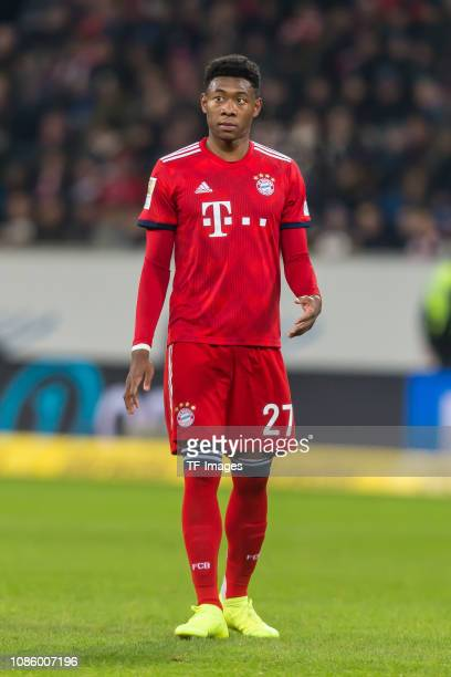 David Alaba of FC Bayern Muenchen looks on during the Bundesliga match between TSG 1899 Hoffenheim and FC Bayern Muenchen at PreZeroArena on January...