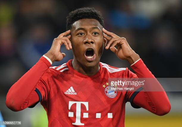 David Alaba of FC Bayern Muenchen reacts during the Bundesliga match between TSG 1899 Hoffenheim and FC Bayern Muenchen at PreZeroArena on January 18...