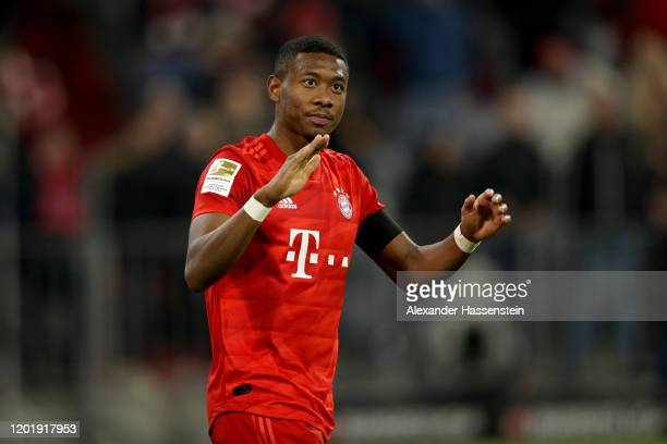 David Alaba of FC Bayern Muenchen reacts during the Bundesliga match between FC Bayern Muenchen and FC Schalke 04 at Allianz Arena on January 25 2020...
