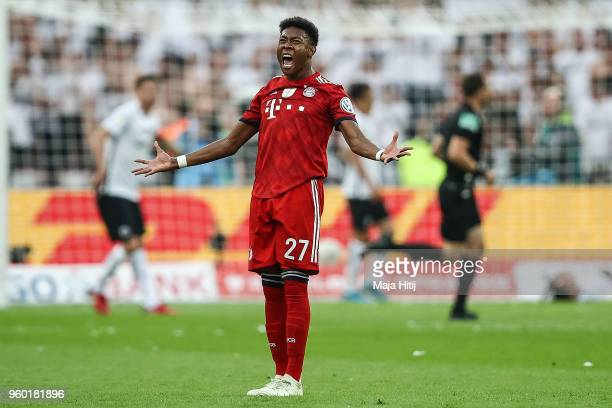 David Alaba of FC Bayern Muenchen reacts during the DFB Cup final between Bayern Muenchen and Eintracht Frankfurt at Olympiastadion on May 19 2018 in...