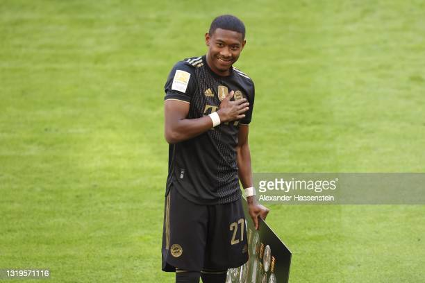 David Alaba of FC Bayern Muenchen reacts prior to the Bundesliga match between FC Bayern Muenchen and FC Augsburg at Allianz Arena on May 22, 2021 in...