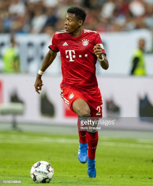David Alaba of FC Bayern Muenchen runs with the ball during the DFL Supercup 2018 match between Eintracht Frankfurt and Bayern Muenchen at...