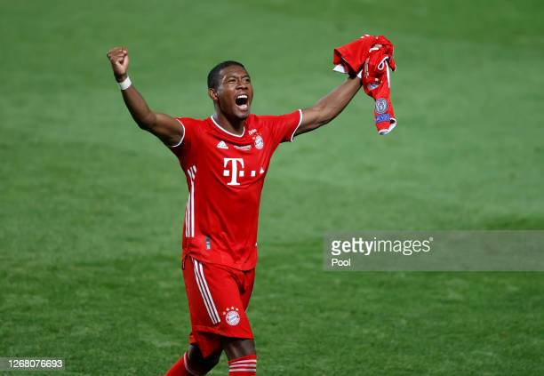 David Alaba of FC Bayern Munich celebrates following his team's victory in the UEFA Champions League Final match between Paris SaintGermain and...