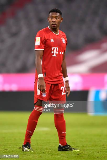 David Alaba of FC Bayern Munich looks on during the Bundesliga match between FC Bayern Muenchen and 1. FSV Mainz 05 at Allianz Arena on January 03,...