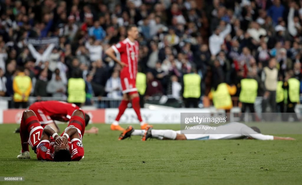David Alaba of FC Bayern Munich reacts after they lost the match at the end of the UEFA Champions League semi final second leg match between Real Madrid and FC Bayern Munich at the Santiago Bernabeu Stadium in Madrid, Spain on May 1, 2018.