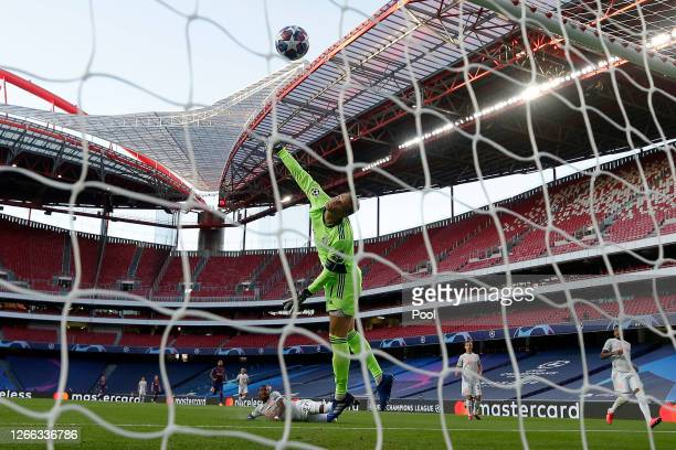 David Alaba of FC Bayern Munich scores an own goal past Manuel Neuer of FC Bayern Munich for FC Barcelona's first goal during the UEFA Champions...