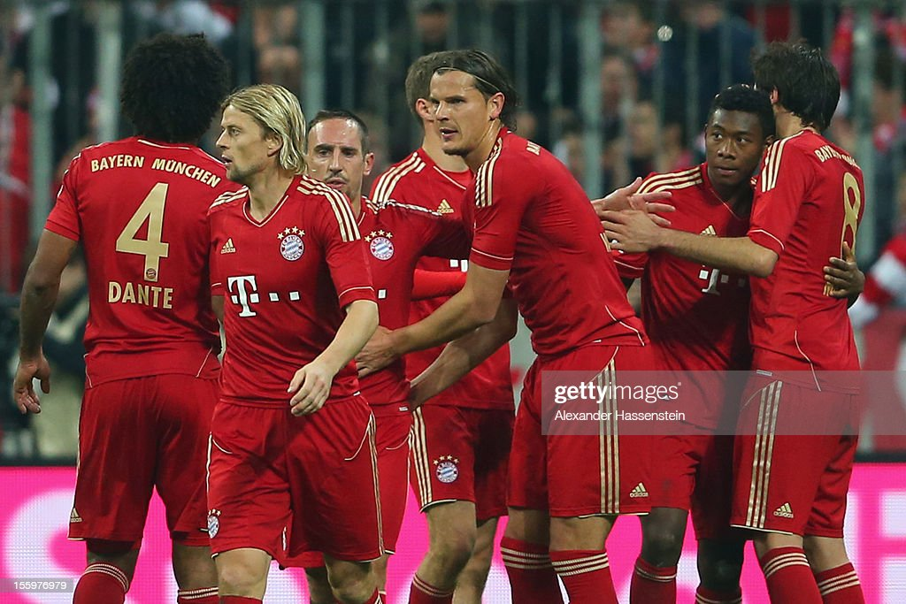 David Alaba (2nd R) of Muenchen celebrates scoring the 2nd team goal with his team mates during the Bundesliga match between FC Bayern Muenchen and Eintracht Frankfurt at Allianz Arena on November 10, 2012 in Munich, Germany.