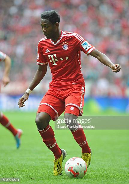 David Alaba of Muenchen in action during the Bundesliga match between FC Bayern Muenchen and FC Augsburg at Allianz Arena on May 11 2013 in Munich...