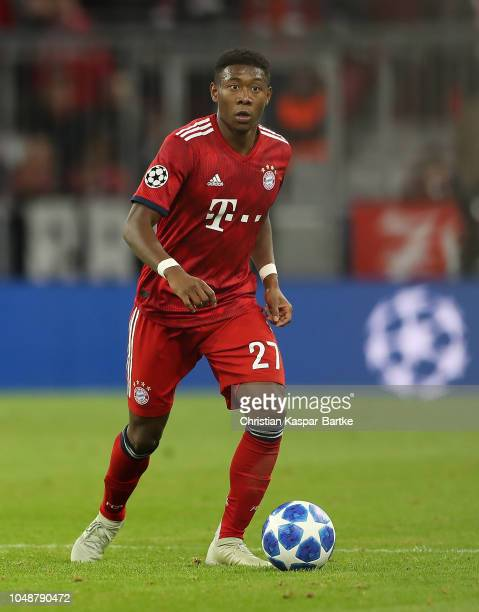 David Alaba of Muenchen in action during the Group E match of the UEFA Champions League between FC Bayern Muenchen and Ajax at Allianz Arena on...