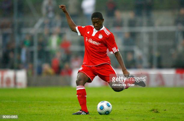 David Alaba of Muenchen kicks the ball during the Third Liga match between Bayern Muenchen II and SSV Jahn Regensburg at the Gruenwalder Stadium on...