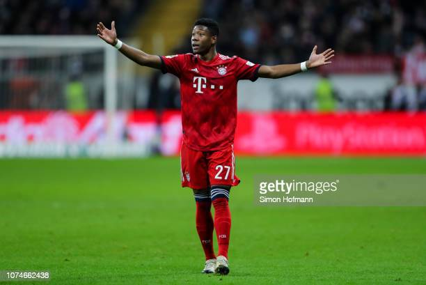 David Alaba of Muenchen reacts during the Bundesliga match between Eintracht Frankfurt and FC Bayern Muenchen at CommerzbankArena on December 22 2018...