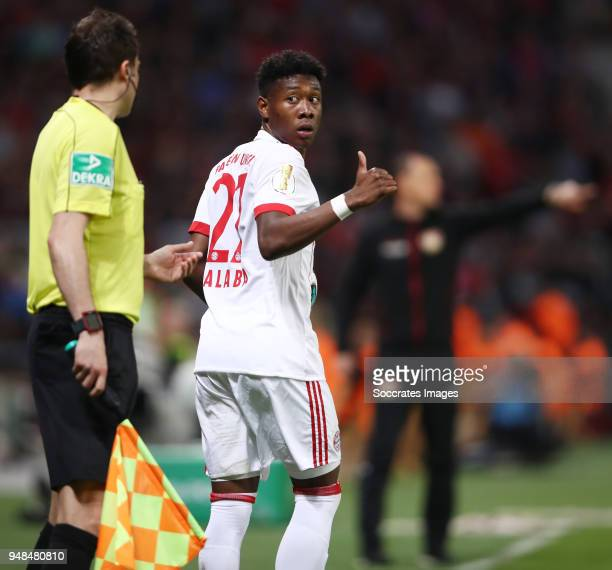 David Alaba of Muenchen reacts during the DFB Cup semi final match between Bayer 04 Leverkusen and Bayern Muenchen at BayArena on April 17 2018 in...