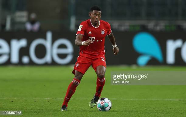 David Alaba of Muenchen runs with the ball during the Bundesliga match between Borussia Moenchengladbach and FC Bayern Muenchen at Borussia-Park on...