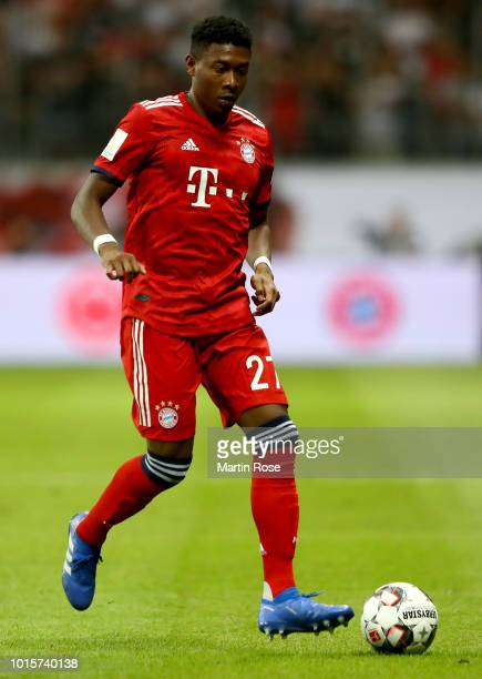 David Alaba of Muenchen runs with the ball during the DFL Supercup 2018 between Eintracht Frankfurt and Bayern Muenchen at CommerzbankArena on August...