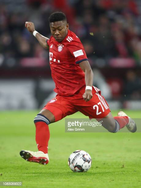 David Alaba of Muenchen shoots the ball during the Bundesliga match between FC Bayern Muenchen and 1 FC Nuernberg at Allianz Arena on December 08...