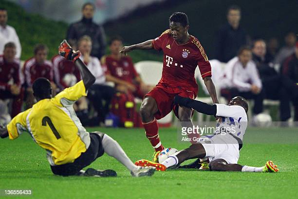 David Alaba of Muenchen tries to score a goal during a training match between Bayern Muenchen and a Under-19 team of Aspire at ASPIRE Academy for...