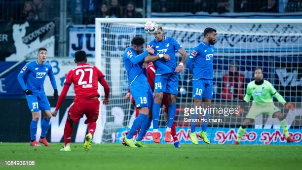 David Alaba of Muenchen tries to score with a free kick during the Bundesliga match between TSG 1899 Hoffenheim and FC Bayern Muenchen at...
