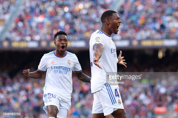 David Alaba of Real Madrid celebrates after scoring their side's first goal during the LaLiga Santander match between FC Barcelona and Real Madrid CF...