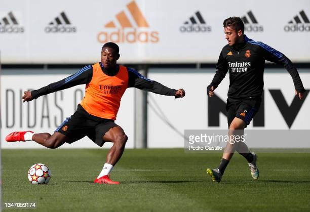 David Alaba of Real Madrid during training at Valdebebas training ground on October 17, 2021 in Madrid, Spain.