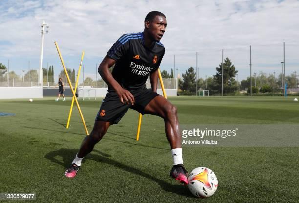 David Alaba of Real Madrid is training at Valdebebas training ground on July 25, 2021 in Madrid, Spain.