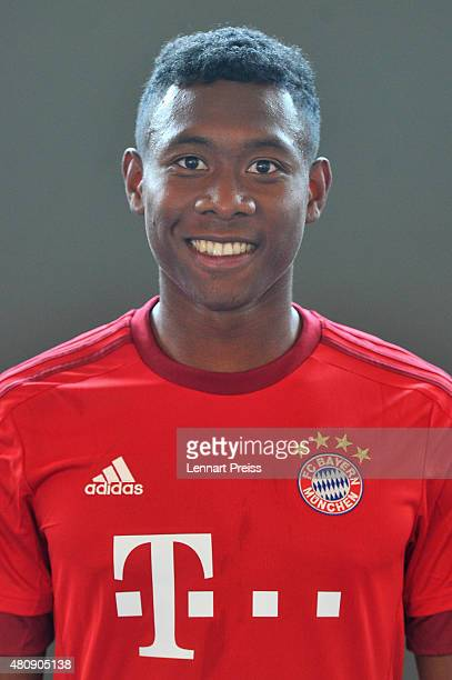 David Alaba poses during the team presentation of FC Bayern Muenchen at Bayern's training ground Saebener Strasse on July 16 2015 in Munich Germany