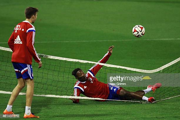 David Alaba tries a bicycle kick during day 4 of the Bayern Muenchen training camp at ASPIRE Academy for Sports Excellence on January 12 2015 in Doha...