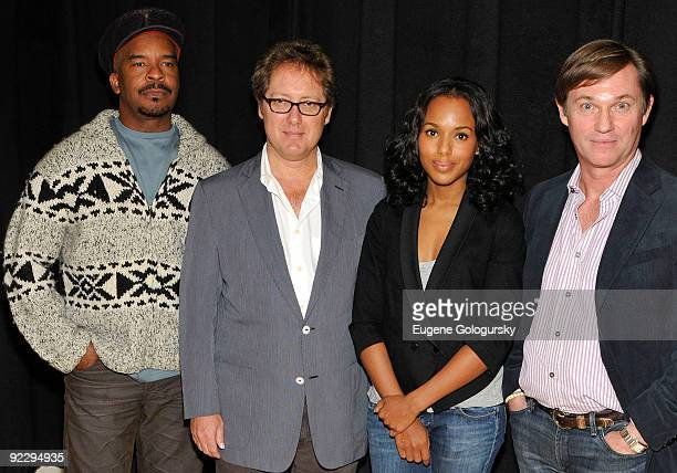 David Alan Grier James Spader Kerry Washington and RIchard Thomas attend the Race Broadway photo call at the Atlantic Theater Company on October 22...
