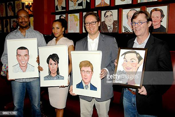 David Alan Grier Kerry Washington James Spader and Richard Thomas attend the portrait unveiling for the cast of 'Race' at Sardi's on April 22 2010 in...