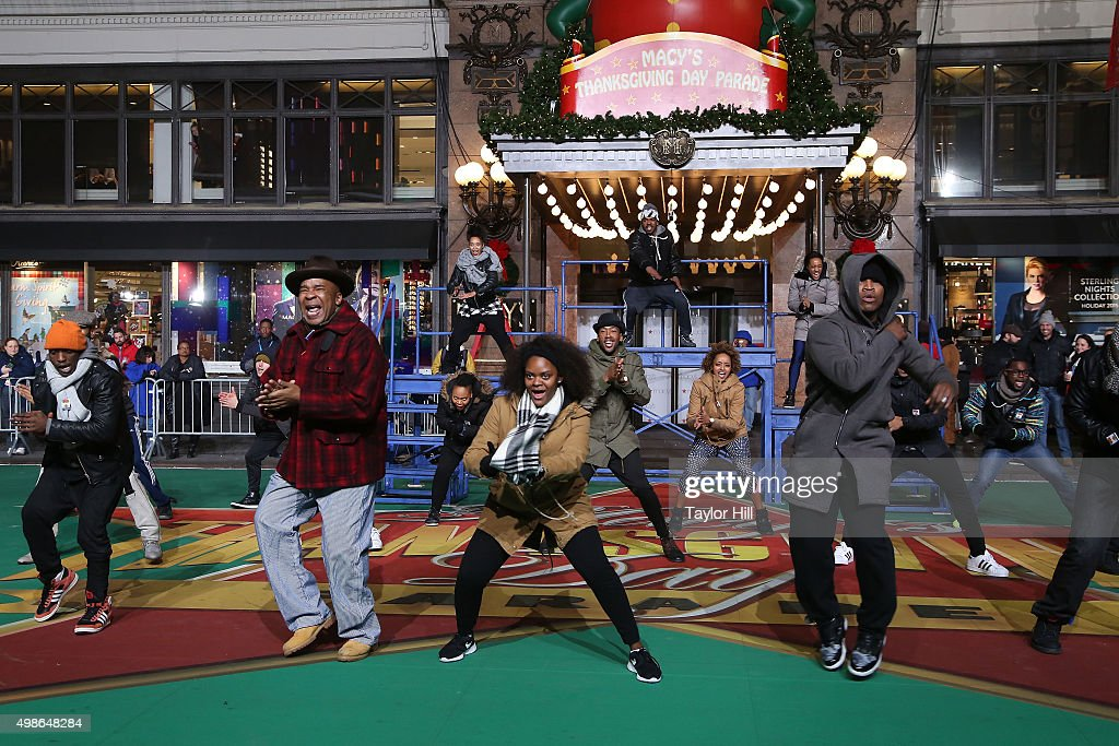 David Alan Grier, Shanice Williams, Ne-Yo, and the cast of The Wiz! perform during Macy's Thanksgiving Day Parade rehearsals at Herald Square on November 24, 2015 in New York City.