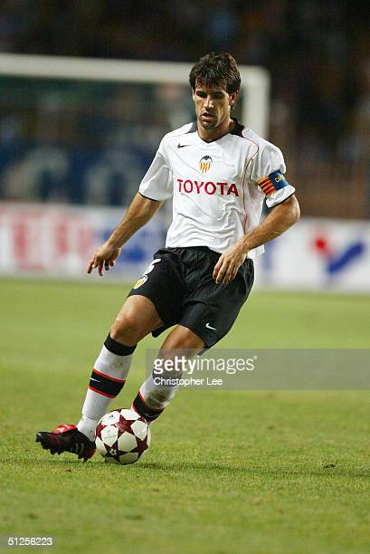 David Albelda of Valencia in action during the UEFA Super Cup match between FC Porto and Valencia at the Stade Louis II on August 27 2004 in Monte...