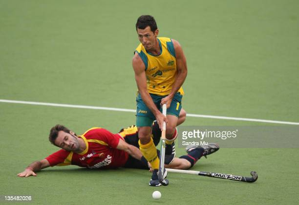 David Alegre of Spain fails to tackle Jamie Dwyer of Australia during the Champions Trophy Final match between Australia and Spain on day six of the...