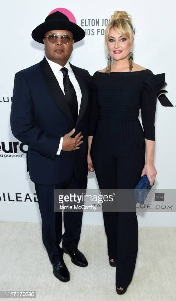 David Alexis and Mädchen Amick attend the 27th annual Elton John AIDS Foundation Academy Awards Viewing Party sponsored by IMDb and Neuro Drinks...