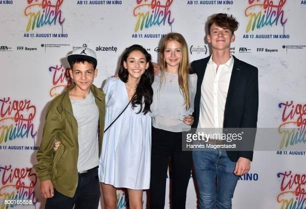 David Ali Rashed Emily Kusche Flora Li Thiemann and Emil Belton attend the 'Tigermilch' Premiere during Munich Film Festival 2017 at Mathaeser...