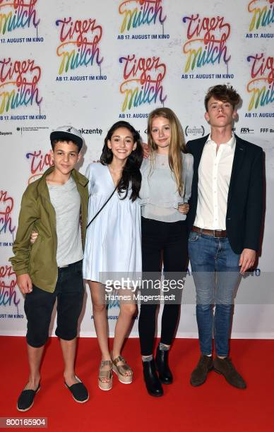 David Ali Rashed Emily Kusche Flora Li Thiemann and Emil Belton attend the 'Tigermilch' Premiere during Munich Film Festival 2017 at Mathaeser...