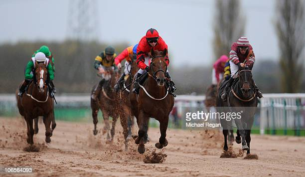 David Allan rides Senate Majority to victory in the Breeders' Cup Live Only On ATR Maiden Stakes at Southwell Racecourse on November 5, 2010 in...