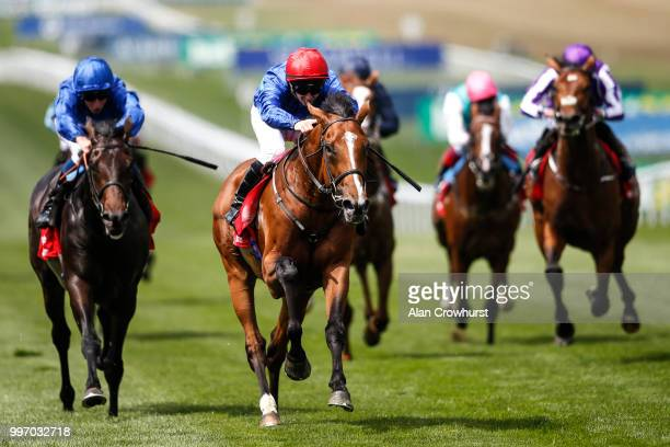 David Allan riding Wells Farhh Go win The Bahrain Trophy Stakes at Newmarket Racecourse on July 12 2018 in Newmarket United Kingdom
