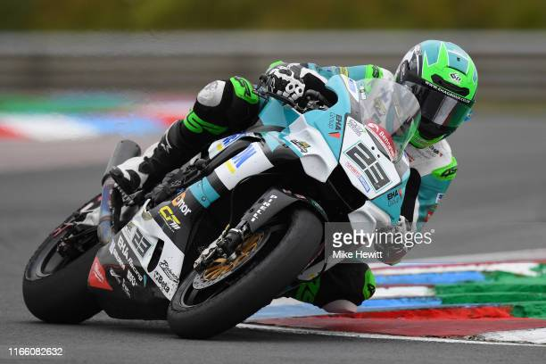 David Allingham of Northern Ireland in action during the British Superbikes Championships at Thruxton Circuit on August 04, 2019 in Andover, England.