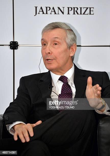 David Allis professor of the Rockefeller University in the US speaks alongside Japan's Tokyo Institute of Technology honorary professor Yasuharu...