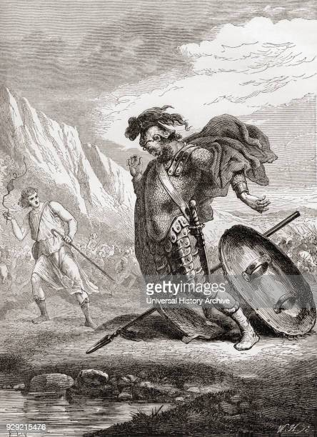 David and Goliath from The Books of Samuel Old Testament From The Children's Bible published c 1883