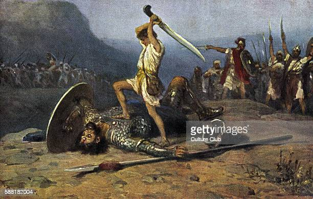 David and Goliath painting of David killing Goliath from the Bible Samuel I Chapter 17 Verse 51 Painting by R Leinweber Slaying giant with sword