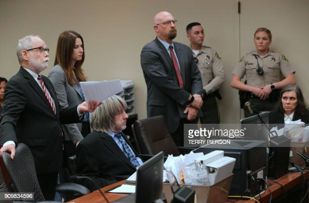 David and Louise Turpin appear in court with their lawyers in court on January 24 2018 in Riverside California David Allen Turpin and his wife Louise...
