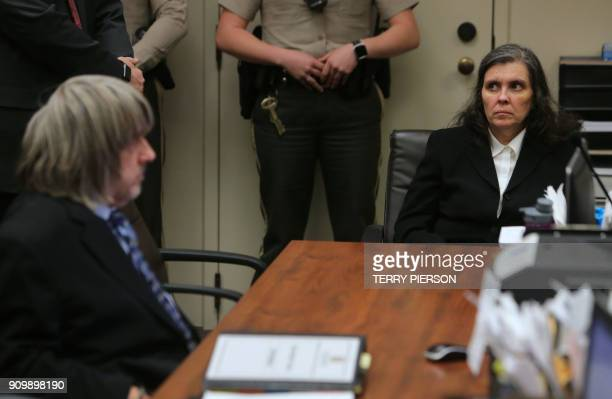 David and Louise Turpin appear in court with their lawyers on January 24 2018 in Riverside California following their January 14 arrest for allegedly...