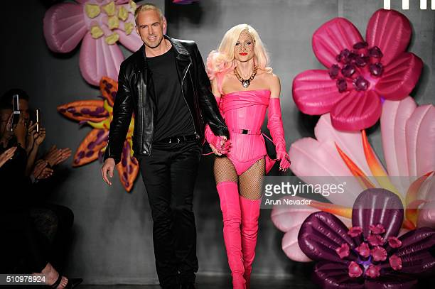 David and Phillipe Blond walk the runway during CND for The Blonds Fall/Winter 2016 runway at Milk Studios on February 17 2016 in New York City