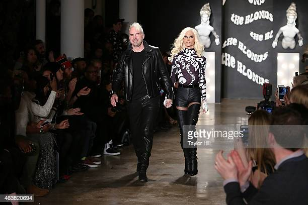 David and Phillipe Blond walk the runway during The Blonds fall 2015 fashion show during MercedesBenz Fashion Week Fall 2015 at Milk Studios on...
