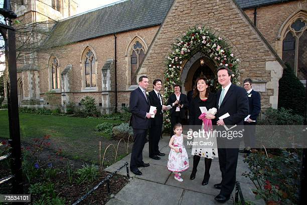 David and Samantha Cameron arrive at Christ Church Kensington with their daughter Nancy to attend the wedding of Alan Parker and Jane Hardman on...
