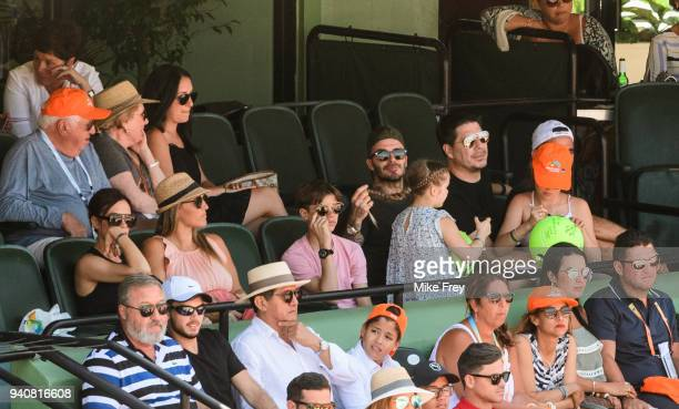 David and Victoria Beckham and their daughter Harper and son Romeo watching John Isner of the USA against Zverev of Germany 67 64 64 in the men's...
