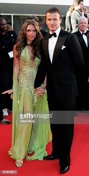 David and Victoria Beckham arrive at the Laureus World Sports Awards on May 16, 2005 at the Estoril Casino, Estoril, Portugal.