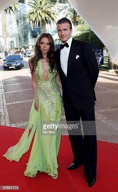David and Victoria Beckham arrive at the Laureus World Sports Awards May 16 2005 at the Estoril Casino Estoril Portugal