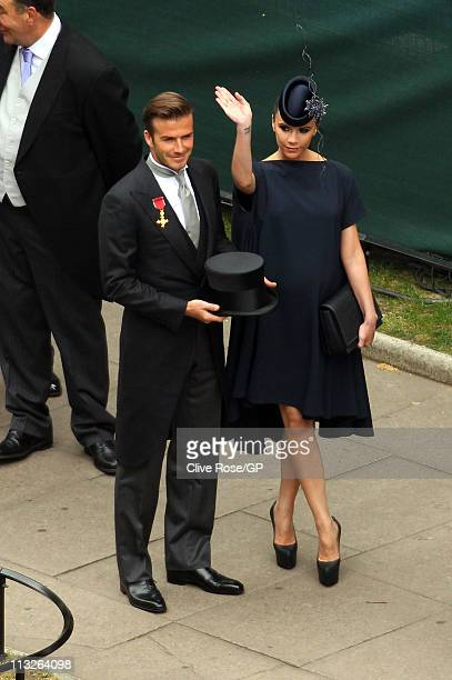 David and Victoria Beckham arrive for the Royal Wedding of Prince William to Catherine Middleton at Westminster Abbey on April 29 2011 in London...