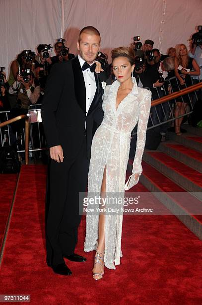 David and Victoria Beckham at the Costume Institute Gala celebrating Superheroes:Fashion and Fantasy .. And held at the Metropolitan Museum of Art .